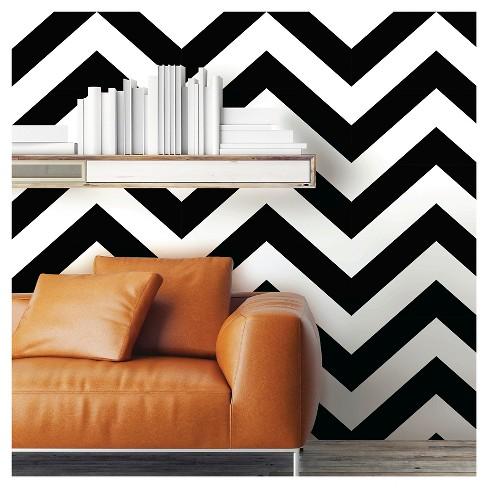 Devine Color Zig Zag Peel Stick Wallpaper Black White