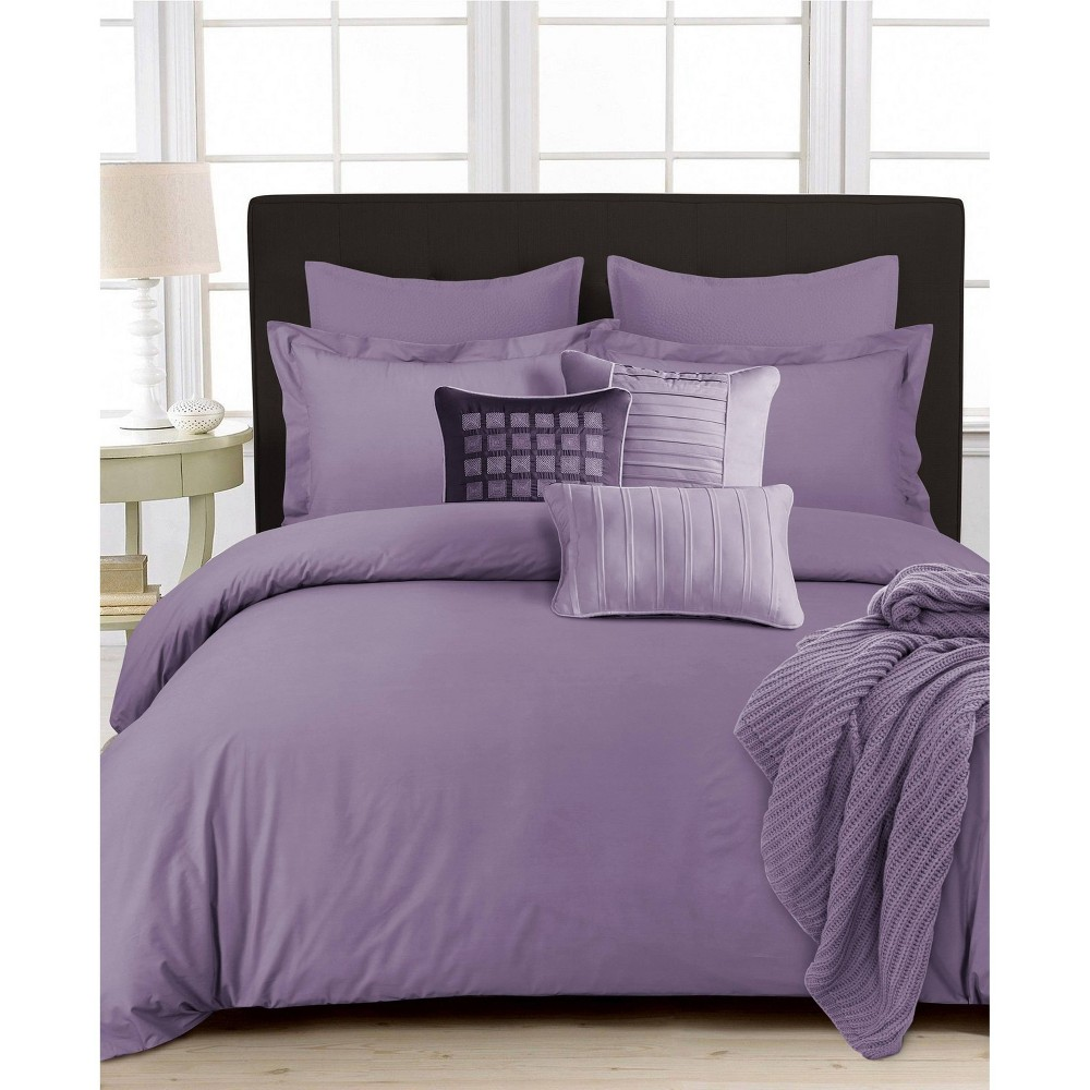 King 3pc 350 Thread Ct Cotton Percale Oversized Duvet Cover Set Lavender Tribeca Living