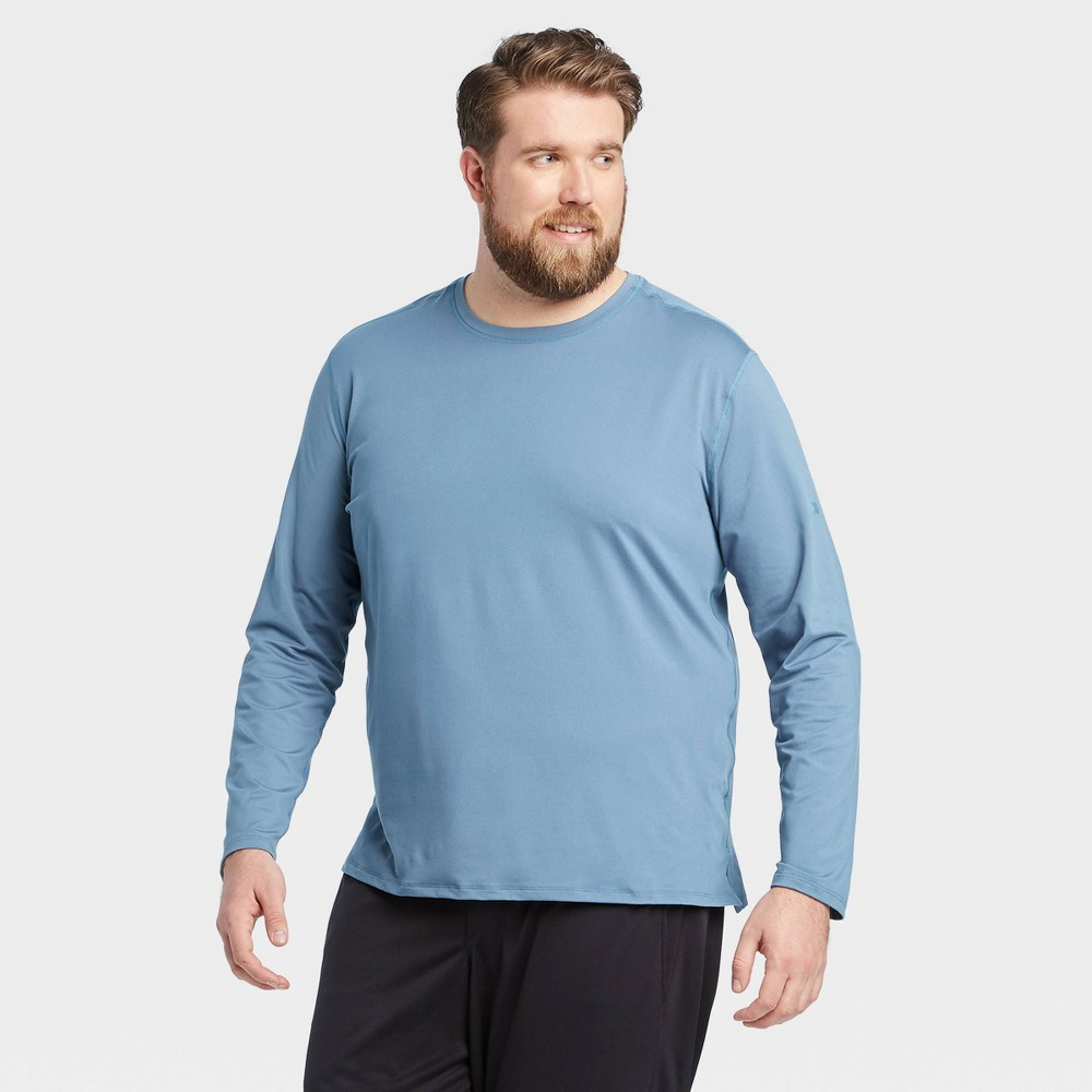 Men's Long Sleeve Performance T-Shirt - All in Motion Blue Gray L, Men's, Size: Large was $16.0 now $11.2 (30.0% off)