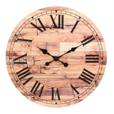 """18"""" Wooden Roman Numeral Wall Clock Brown - Stonebriar Collection"""