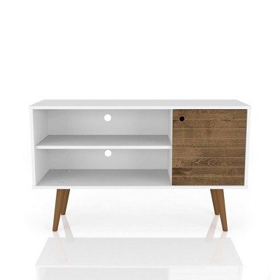 42.52  Liberty Mid Century Modern TV Stand with 2 Shelves and 1 Door White/Rustic Brown - Manhattan Comfort