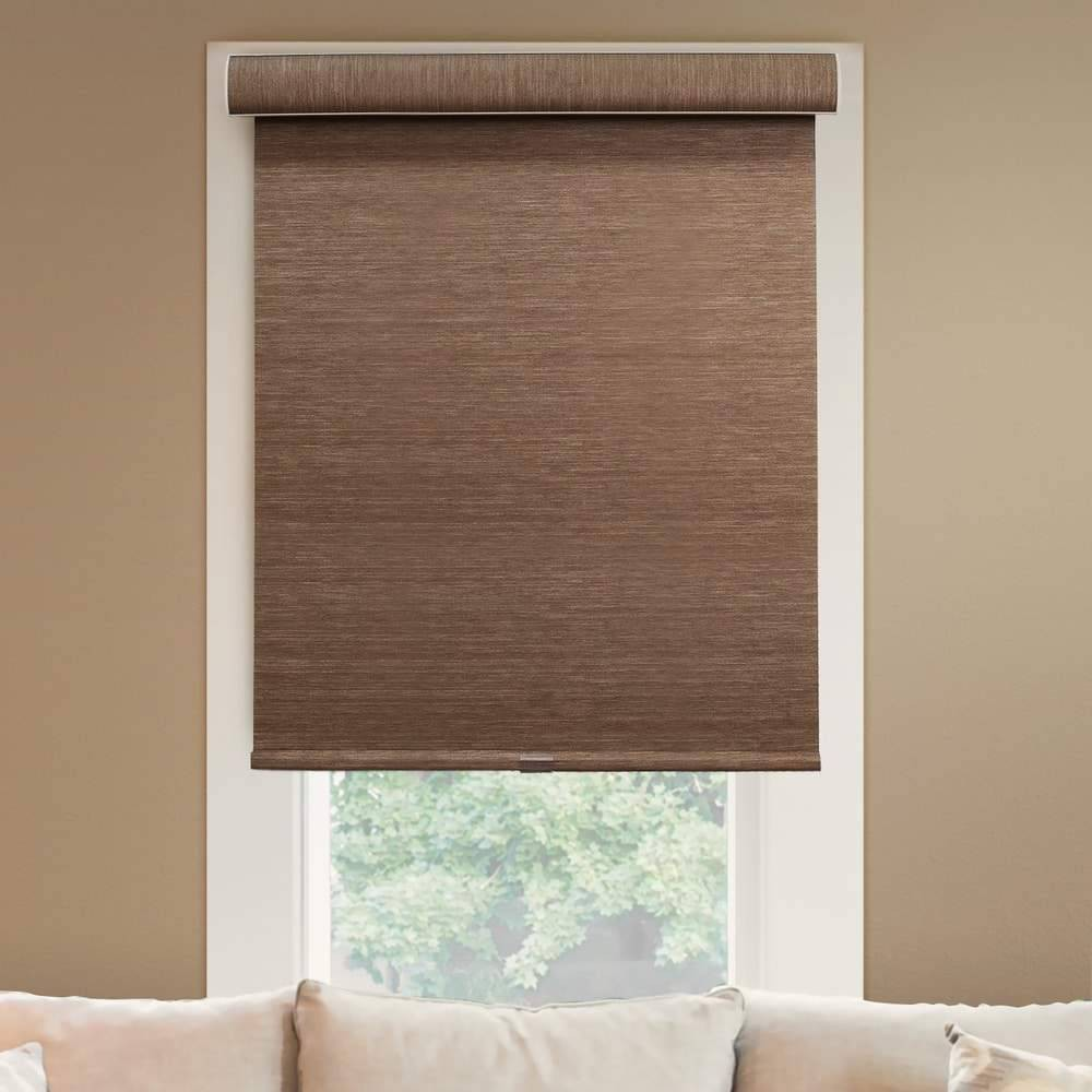 "Image of ""29""""x72"""" Deluxe Free Stop Room Darkening Woven Cordless Roller Window Shade Beige - Chicology, Brown"""