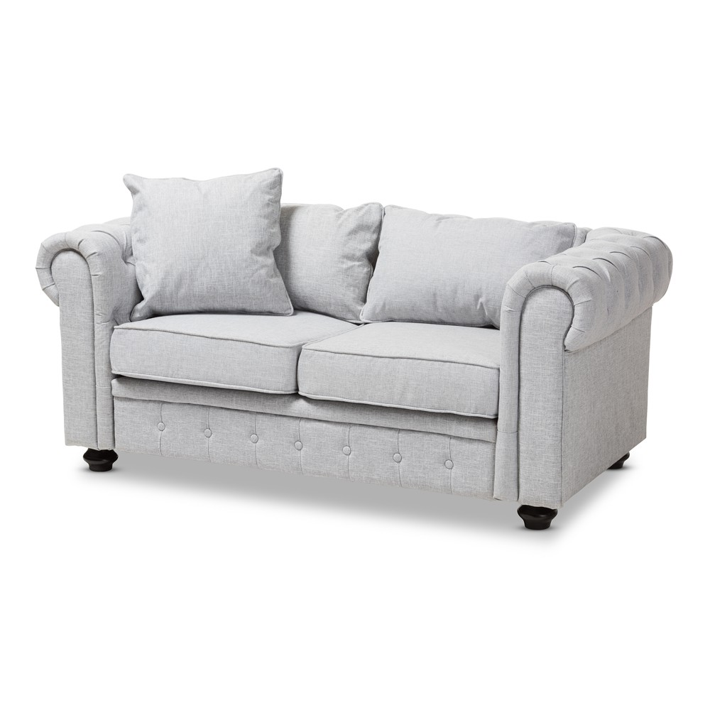 Baxton Studio Alaise Modern Classic Linen Tufted Scroll Arm Chesterfield Loveseat Gray