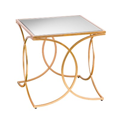 Dashner Geometric End Table With Mirrored Top Deep Gold - Aiden Lane