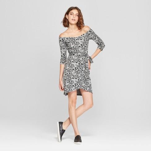 b5a2241a5a04 Women s Floral Print Long Sleeve Off the Shoulder Tie Waist Dress - Love    First Sight (Juniors ) Gray Black