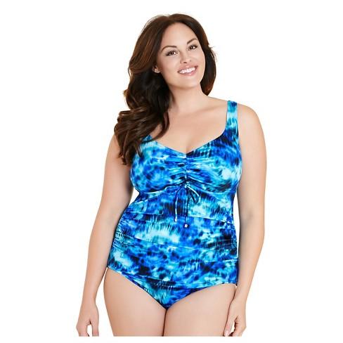 da6b70f49d Women s Plus Size Tie Front One Piece Swimsuit Blue Tie Dye 24W - Aqua Green®    Target