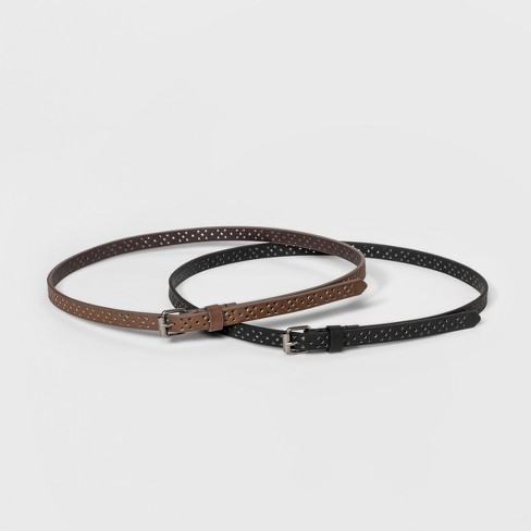 Women's Laser Cut 2 for 1 Belts - Universal Thread™ Black/Brown S - image 1 of 3