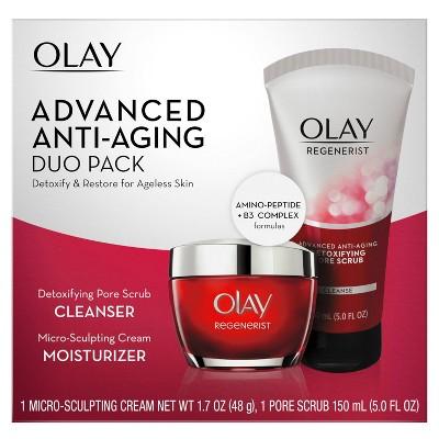 Olay Regenerist Micro-sculpting Cream & Regenerist Detoxifying Pore Scrub - 2ct
