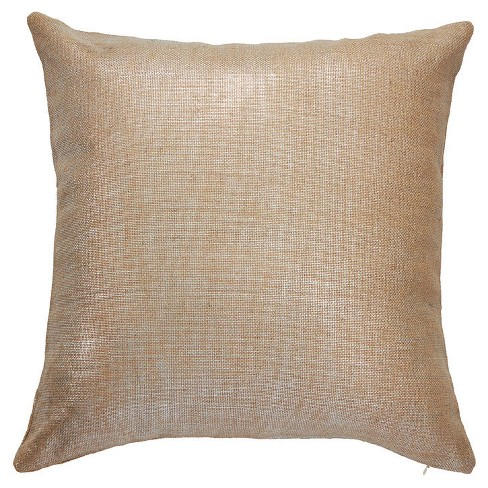 "Gold Preppy Plaid Silk Down Fill Throw Pillow (20""x20"") - Jaipur Living - image 1 of 1"