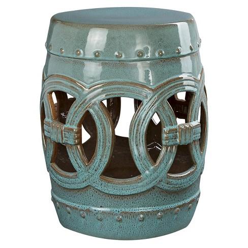 Moroccan Teal Ceramic Garden Stool Abbyson Living