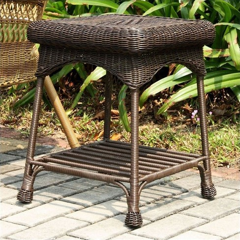 Remarkable Wicker Patio End Table In Espresso Jeco Inc Alphanode Cool Chair Designs And Ideas Alphanodeonline