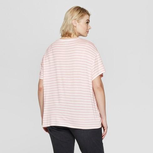 9d07d22ef7a Women s Plus Size Striped Short Sleeve Tie Front T-Shirt - Ava   Viv™ Pink  1X   Target