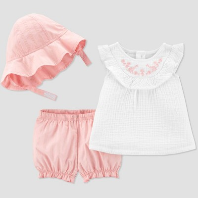 Baby Girls' Giraffe Embroidered Top and Stripe Shorts Bottom Set - Just One You® made by carter's White/Coral 9M