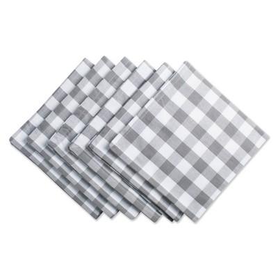 6pk Cotton Checkered Napkins Gray/White - Design Imports