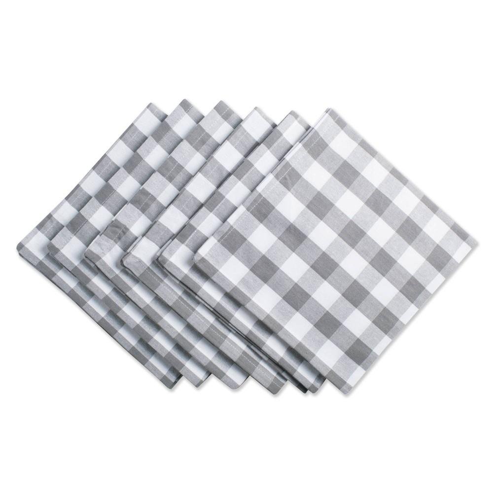 Image of 6pk Cotton Checkered Napkins Gray/White - Design Imports