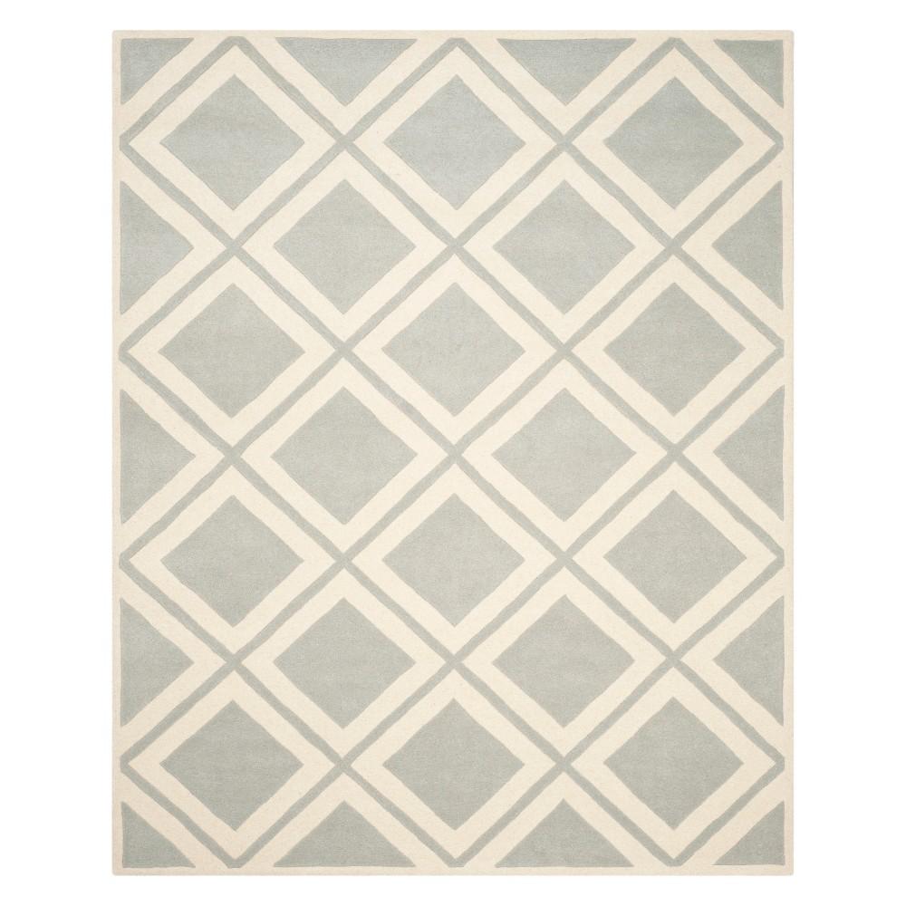 8'X10' Geometric Tufted Area Rug Gray/Ivory - Safavieh