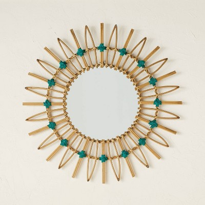 """30"""" Dia Rattan Mirror with Cotton Cord - Opalhouse™ designed with Jungalow™"""