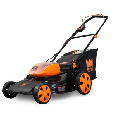 "WEN 40439BT 40V Max Lithium Ion 19"" Cordless 3-in-1 Lawn Mower with 16-Gallon Bag"