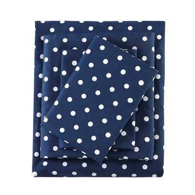 Full Polka Dot Printed Cotton Sheet Set Indigo