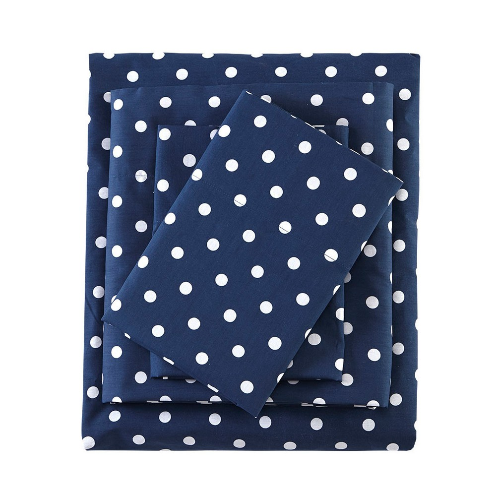 Queen Polka Dot Printed Cotton Sheet Set Indigo (Blue)