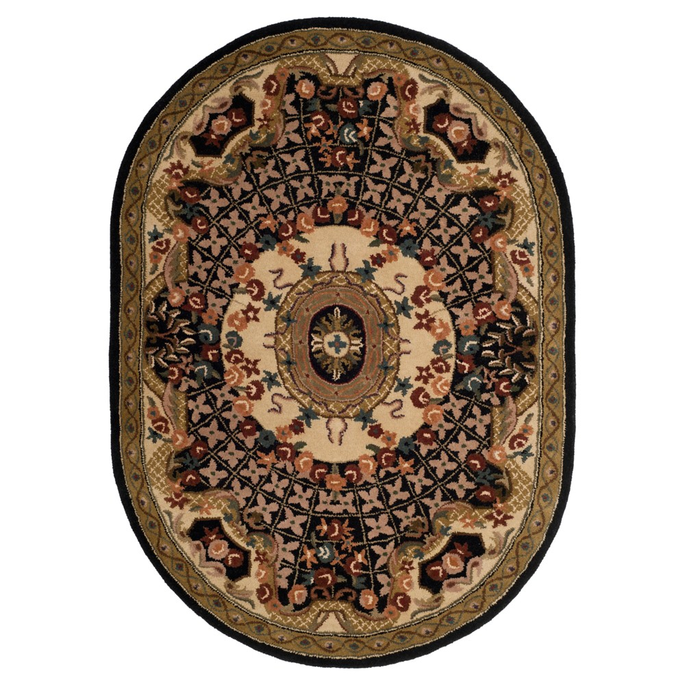 Black/Gold Abstract Tufted Oval Area Rug - (7'6
