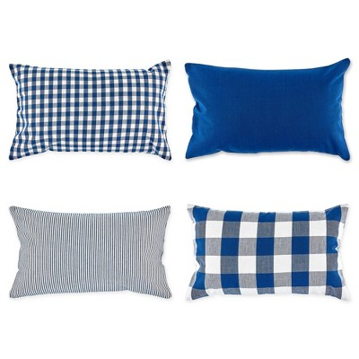 4pk Assorted Throw Pillow Covers Navy/Off White - Design Imports