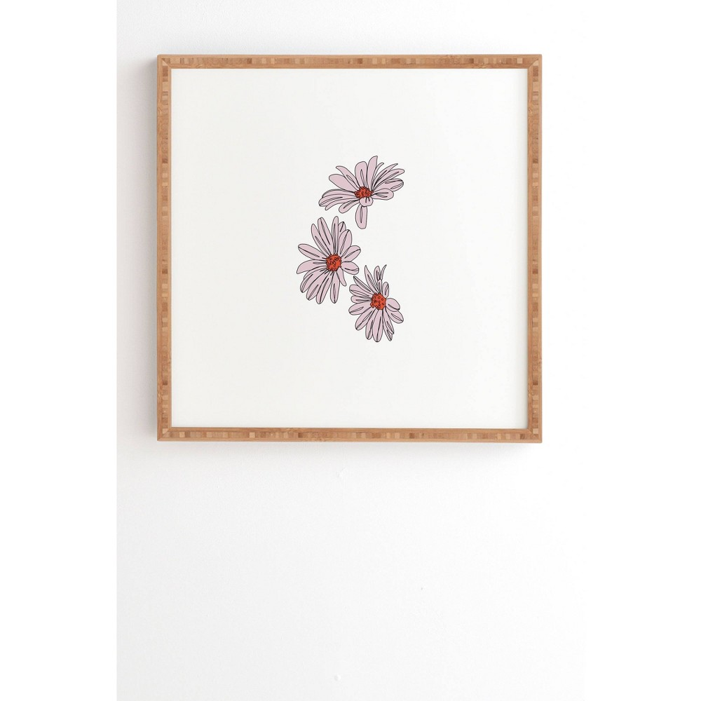 """Image of """"12"""""""" x 12"""""""" The Color Study Daisy Illustration Floral Framed Wall Art Pink - Deny Designs, Size: 12""""""""x12"""""""""""""""