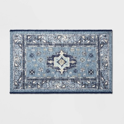 Vintage Persian Medallion Kitchen Rug Blue - Threshold™