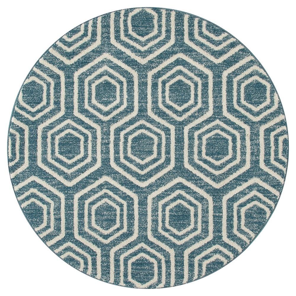 Aqua (Blue) Abstract Woven Round Area Rug - (5') - Art Carpet