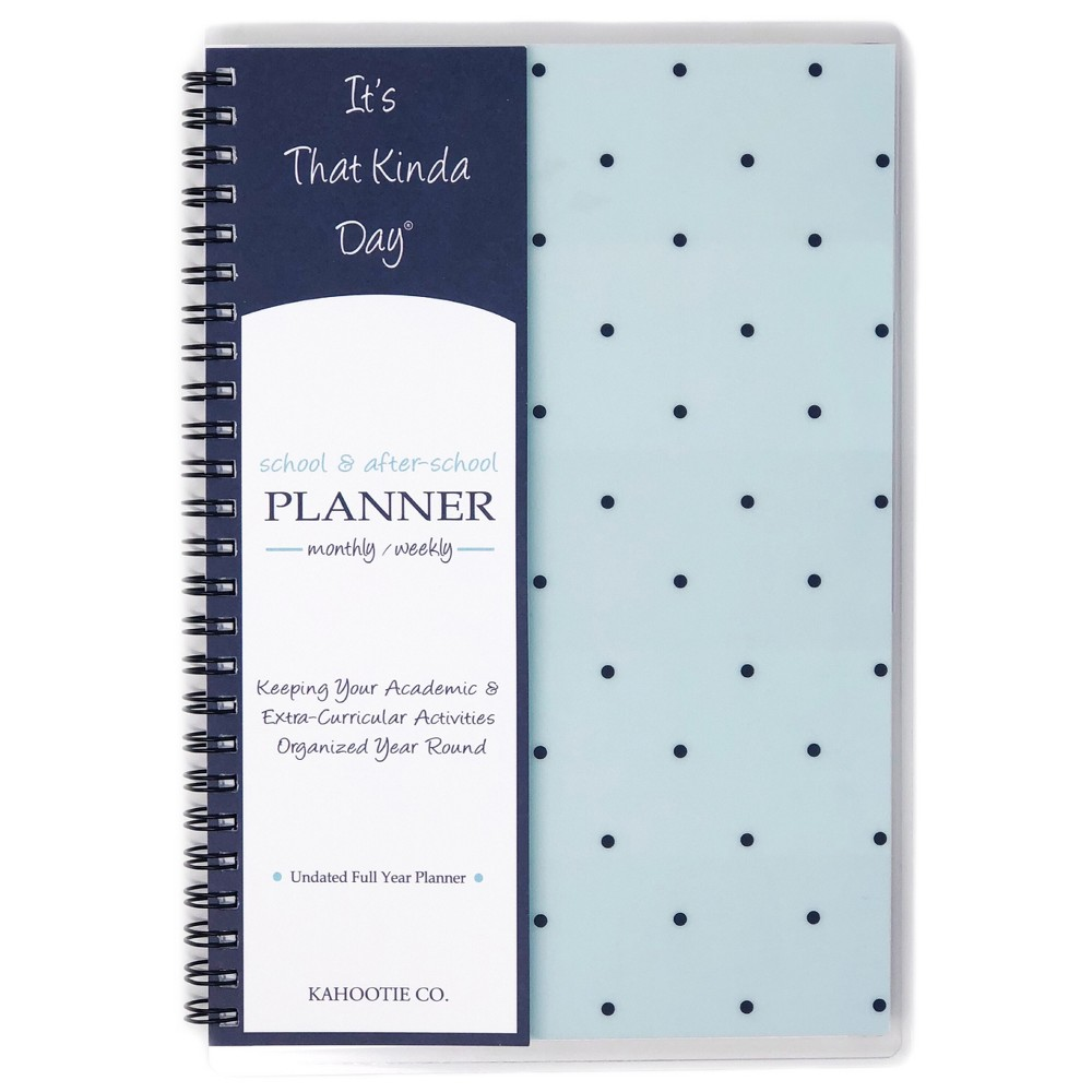 "Image of ""Undated Academic Planner 8.5""""x5.5"""" Teal Polka Dots - Kahootie Co, Blue"""