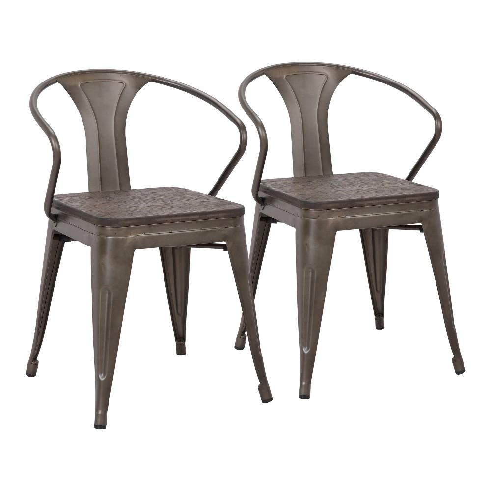 Set of 2 Waco Industrial Chairs Antique/Espresso (Antique/Brown) - LumiSource