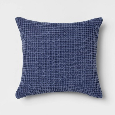 Waffle Weave Square Throw Pillow Blue - Threshold™