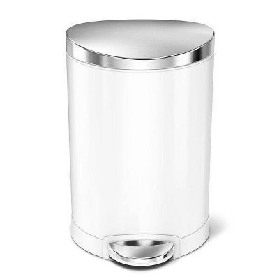 6L Semi-Round Step Open Trash White/Steel - simplehuman