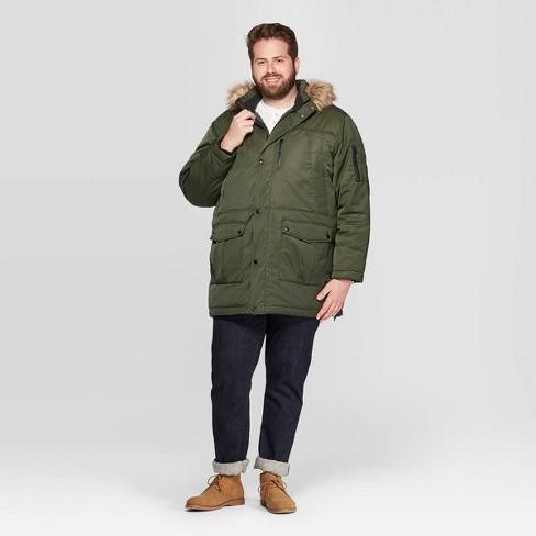 Mens Olive Green Parka Jacket