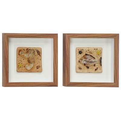 "(Set of 2) 12"" x 12"" Coastal Style Seahorse and Fish Fossil Shadow Box Wall Decor in Square Wood Frames - Olivia & May"