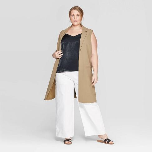 f6779cd4525eb Women s Plus Size Wide Leg Crop Pants - Prologue™ Olive   Target