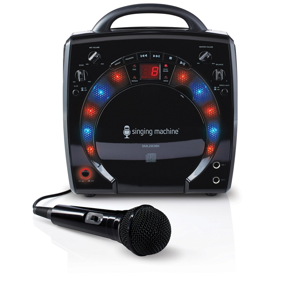 Singing Machine SML283BK Portable CD +G Karaoke System with Disco Lights and Microphone, Black Bring the party wherever you go with this light weight karaoke system. Sing your favorite tunes from your Cd+g collection with the built-in CD player. Connect to your TV for scrolling lyrics. The Portable Karaoke System with Disco lights has two-digit Led display that lets you know your song track. It also contains Rca cables that let you connect the karaoke system to your television for scrolling lyrics. The Portable Karaoke System with Disco lights comes with two wired microphone jacks with separate volume controls, so you can sing a duet anytime. Lastly, the Portable Karaoke System with Disco lights comes with echo control for voice effects. Color: Black.