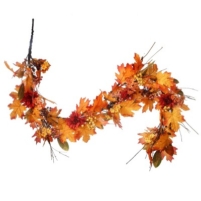 """60"""" Harvest Garland with Pine Cones and Maple Leaves Halloween Banner - Orange"""