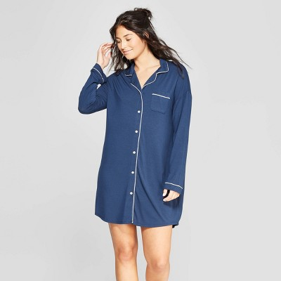 Women's Beautifully Soft Notch Collar Nightgown - Stars Above™ Navy S