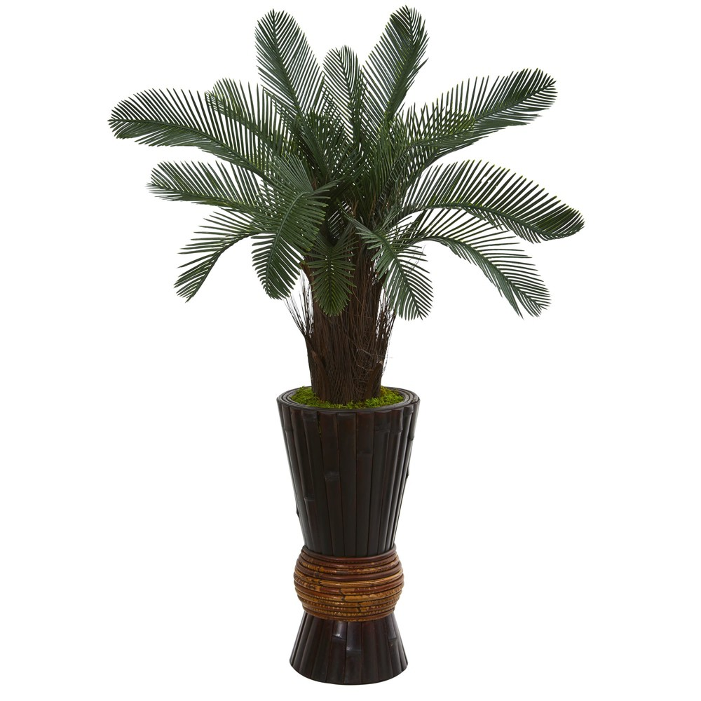 3.5ft Cycas Artificial Tree In Bamboo Planter - Nearly Natural, Green