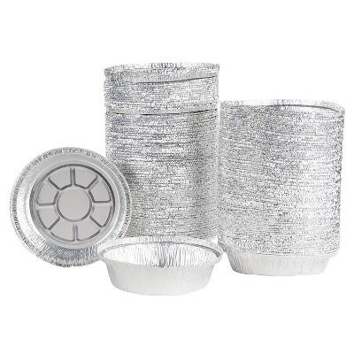 "Juvale 200-Pack 6.7"" Round Disposable Aluminum Foil Pans with Lids Pie Pans Tin Plates, 7.5 x 5.7 x 6.7 in"