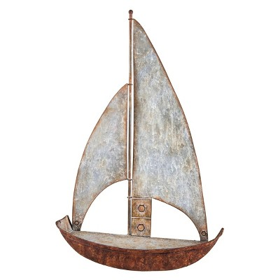 Rustic Distressed Metal Sailboat Hanging Wall Shelf - Foreside Home & Garden