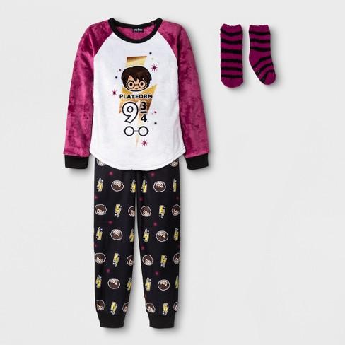 771a6638cb53 Girls  Harry Potter 2pc Pajama Set With Sock - Purple white Black ...