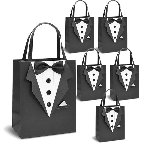 "6 Pack Classic Black Tuxedo Gift Bags for Groomsman, Father's Birthday and Wedding Favor Bags, 10""x8""x4.5"" - image 1 of 4"