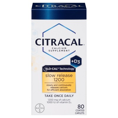 Citracal Calcium & D3 Slow Release Calcium Dietary Supplement Tablets - 80ct