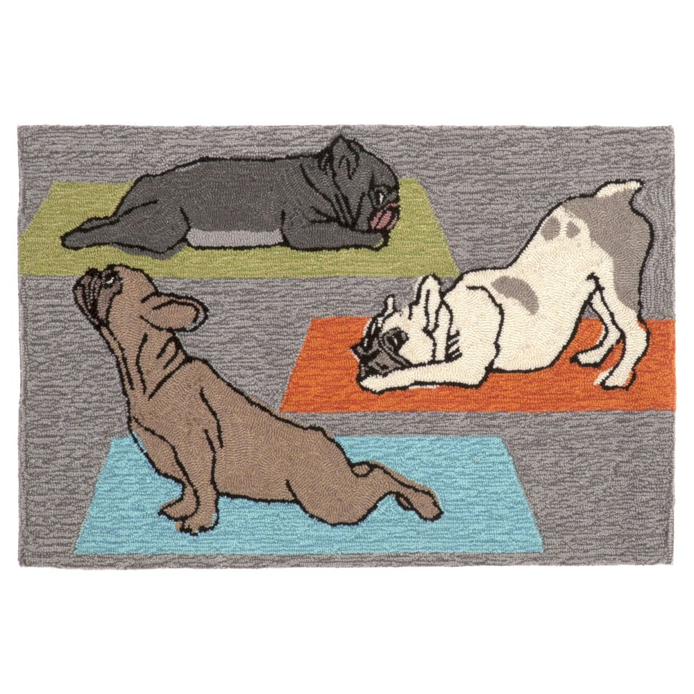 "Image of ""Frontporch Indoor/Outdoor Yoga Dogs Heather Rug 30""""X48"""" Gray - Liora Manne"""
