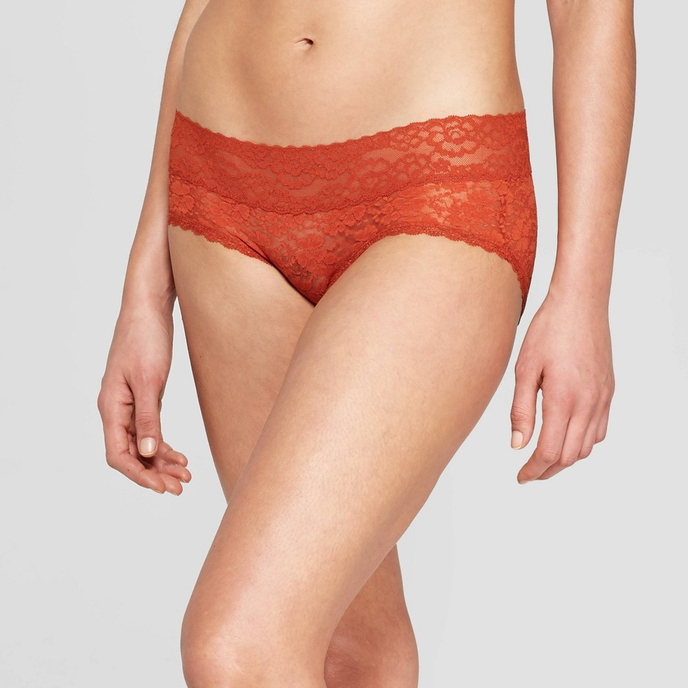 Women's All Over Lace Hipster - Auden Orange Berry XS