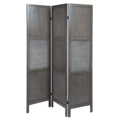 Ramie Folding Screen Gray - Winsome