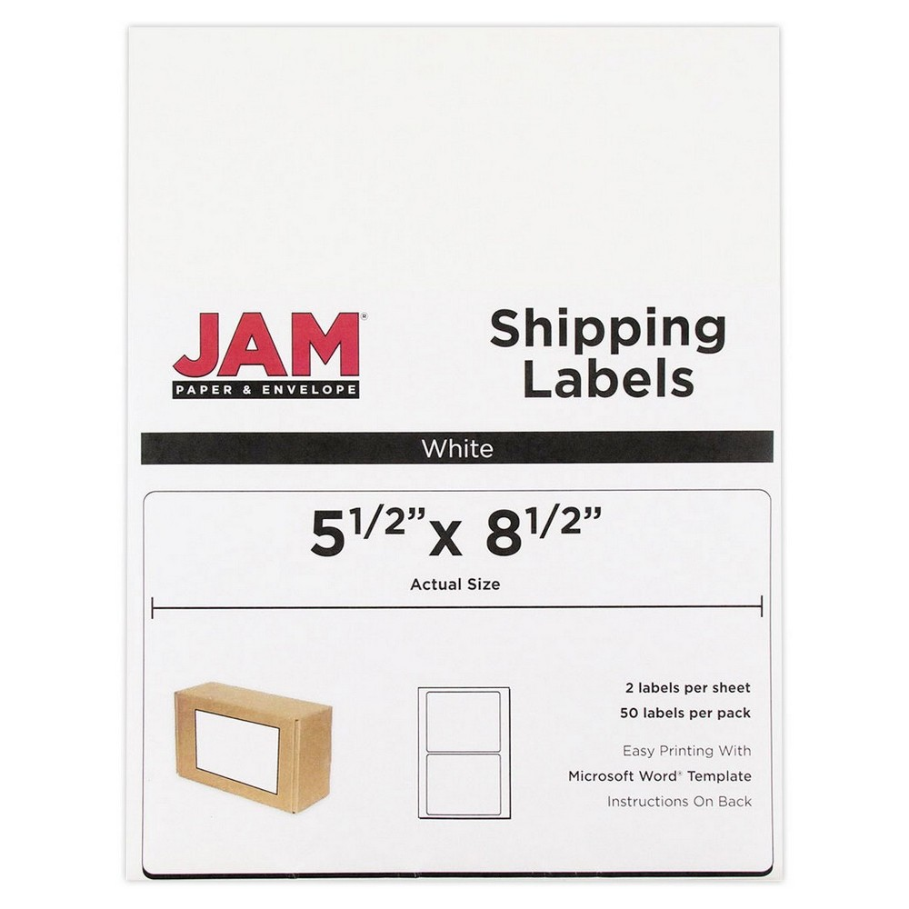 Jam Paper Shipping Labels 5.5 x 8.5 50ct - White