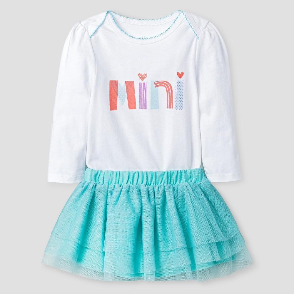 Baby Girls' Bodysuit and Tutu Set - Cat & Jack White/Turquoise 0-3M